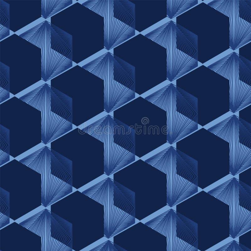 Het moderne patroon van de indigo blauwe geometrische hand getrokken 3d kubus Het herhalen van abstracte achtergrond Sier zwart-w stock illustratie