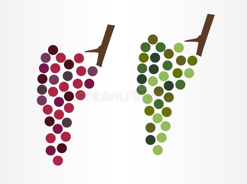 Het het moderne pictogram of embleem van wijndruiven in twee varianten - rode en witte wijndruif royalty-vrije illustratie