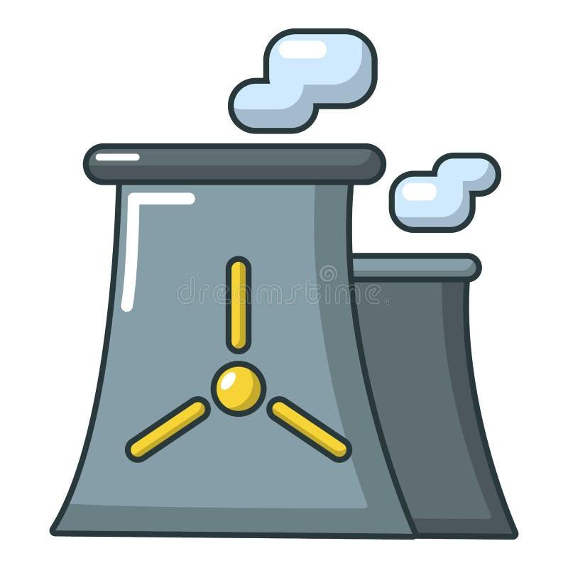 Het moderne pictogram van de kernenergieinstallatie, beeldverhaalstijl stock illustratie