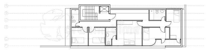 Het moderne plan van de huiseerste verdieping royalty-vrije illustratie