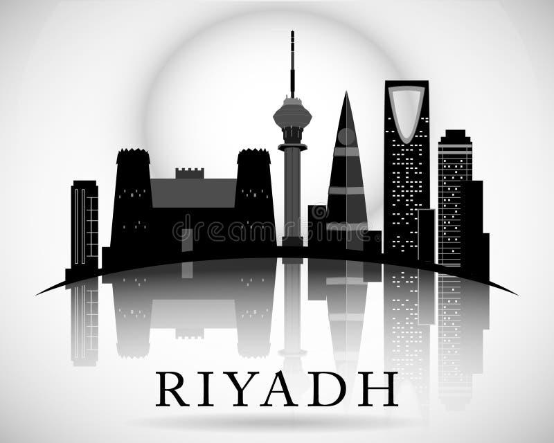Het moderne Riyadh Ontwerp van de Stadshorizon In de schaduw gestelde hulpkaart stock illustratie