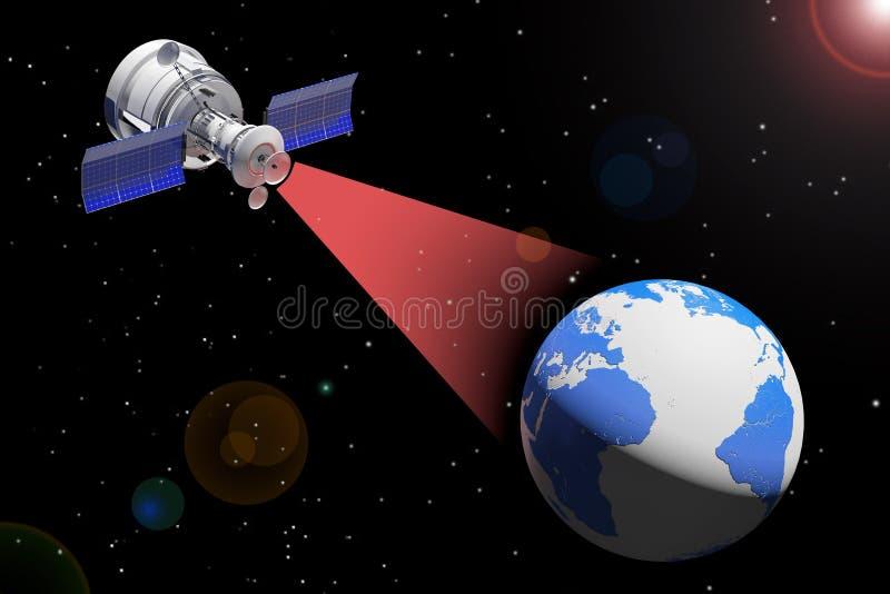 Het moderne Satelliet Uitzenden aan Aardebol het 3d teruggeven royalty-vrije illustratie