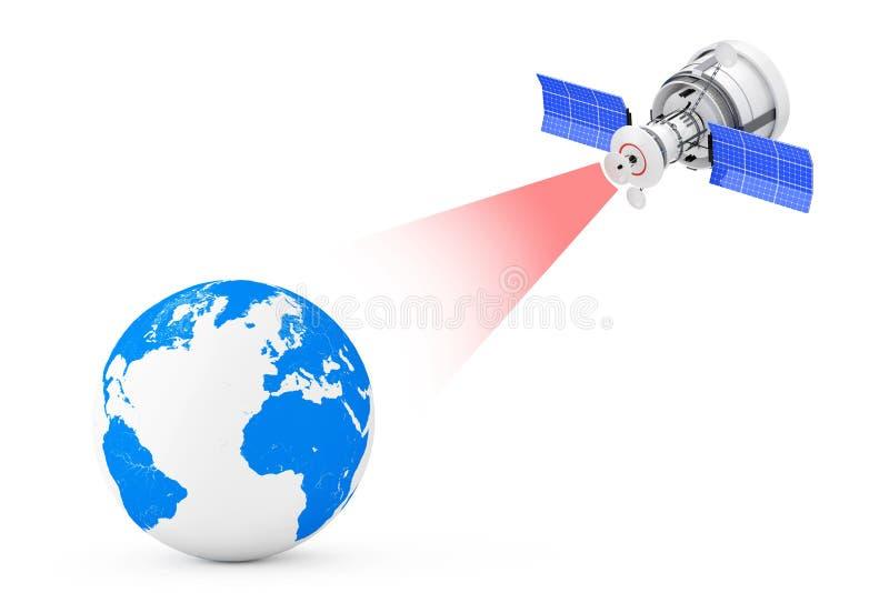 Het moderne Satelliet Uitzenden aan Aardebol het 3d teruggeven stock illustratie