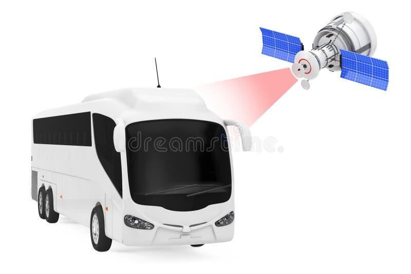Het moderne Satelliet Uitzenden aan Grote Witte Bus Tour Bus 3d ren vector illustratie