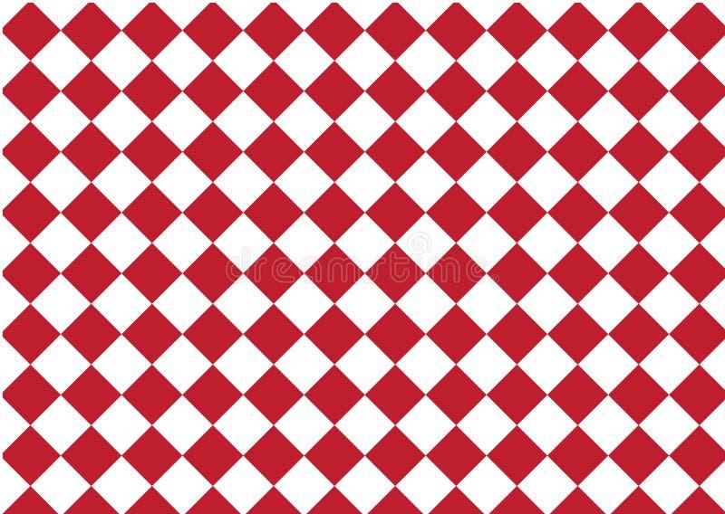 Het moderne schaak van de patroon geruite, rode en witte textieldruk, ab royalty-vrije illustratie