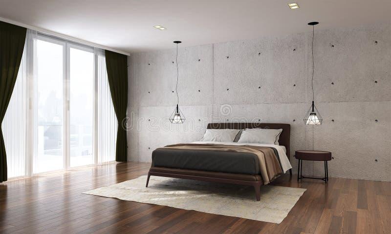 Het moderne slaapkamer binnenlandse ontwerp en de concrete muurachtergrond royalty-vrije stock afbeelding