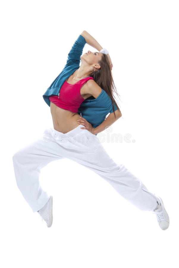 Het moderne slanke vrouwendanser dansen royalty-vrije stock afbeeldingen
