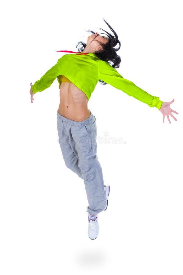 Het moderne stijldanser springen royalty-vrije stock afbeelding