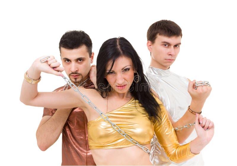 Het moderne stijldanser stellen met ketting royalty-vrije stock foto