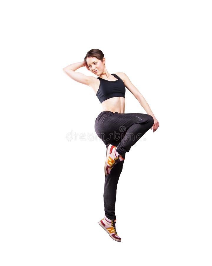 Het moderne stijldanser stellen op studio witte achtergrond royalty-vrije stock foto's