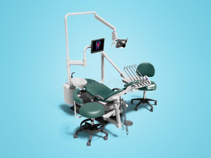 Het moderne tandmateriaal met een van de elektrische stoelmonitor en boor 3d gehechtheid geeft op blauw schuim met schaduw terug royalty-vrije illustratie