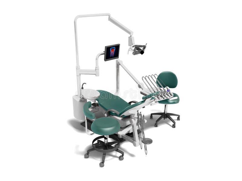 Het moderne tandmateriaal met een van de elektrische stoelmonitor en boor 3d gehechtheid geeft op wit schuim met schaduw terug stock illustratie