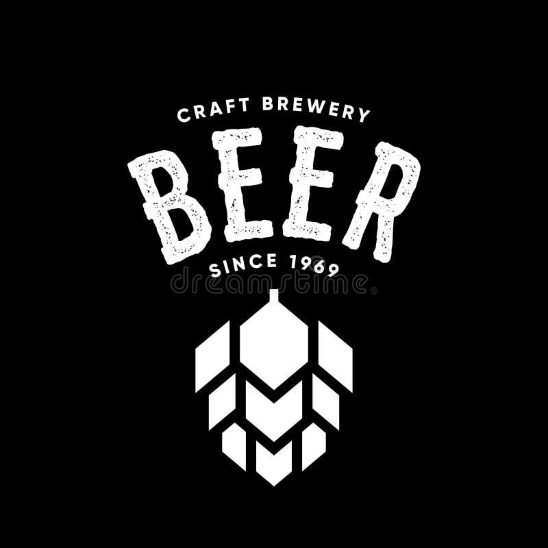 Het moderne teken van het de drank vectordieembleem van het ambachtbier voor bar, bar of herberg, op zwarte achtergrond wordt geï vector illustratie