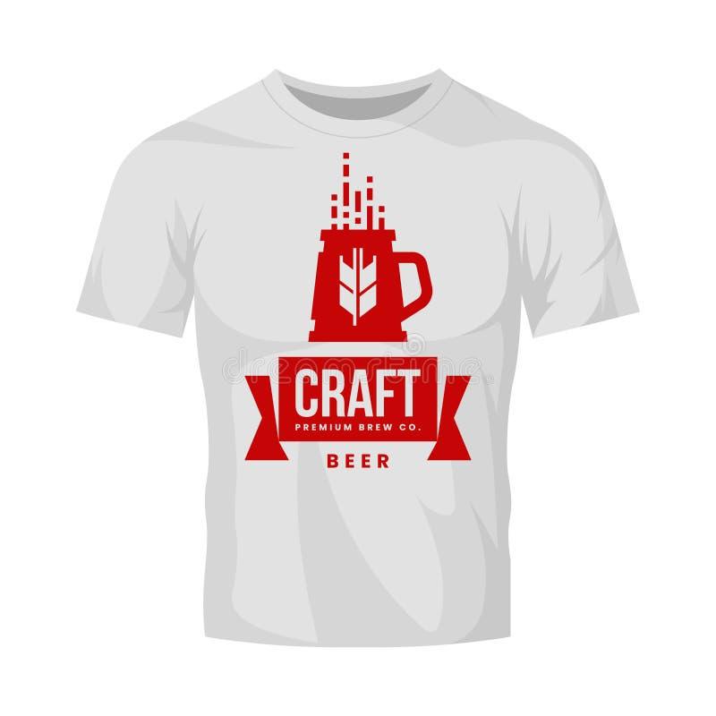 Het moderne teken van het de drank vectordieembleem van het ambachtbier voor bar, bar, opslag, brouwerij of brouwerij op witte t- stock illustratie