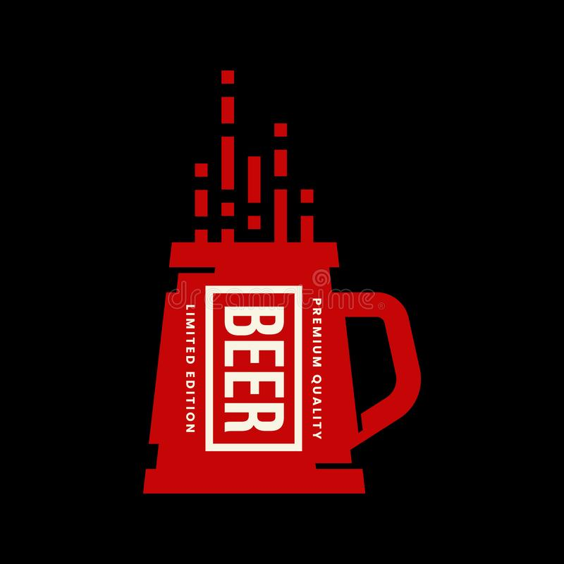 Het moderne teken van het de drank vectordieembleem van het ambachtbier voor bar, bar, opslag, brouwerij of brouwerij op zwarte a stock illustratie