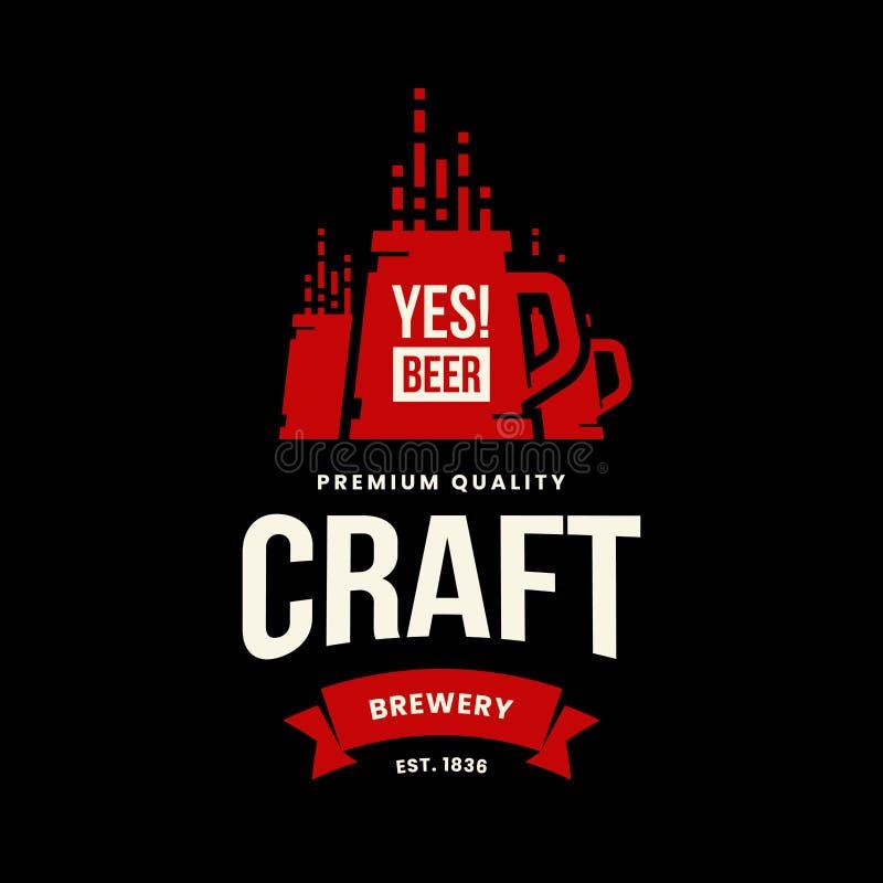 Het moderne teken van het de drank vectordieembleem van het ambachtbier voor bar, bar, opslag, brouwerij of brouwerij op zwarte a royalty-vrije illustratie