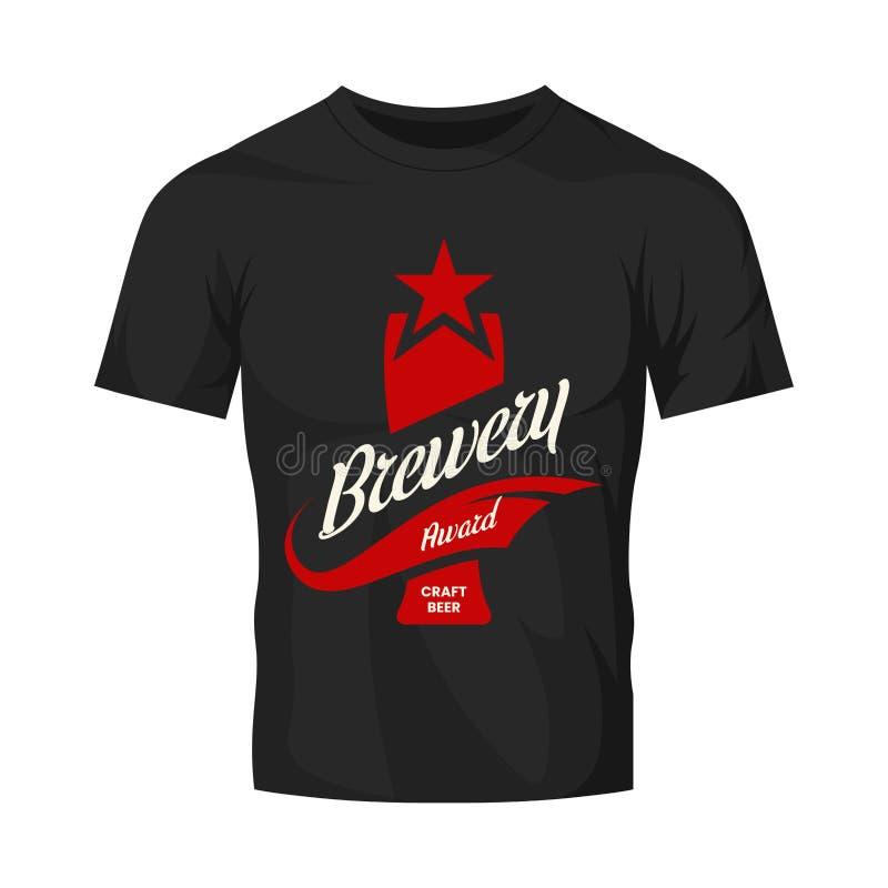 Het moderne teken van het de drank vectordieembleem van het ambachtbier voor bar, bar, opslag, brouwerij of brouwerij op zwarte t royalty-vrije illustratie