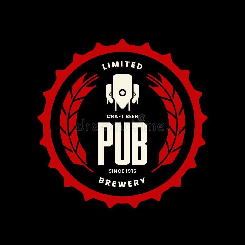 Het moderne teken van het de drank vectordieembleem van het ambachtbier voor bar, bar, opslag, winkel, brouwerij, brouwerij op zw royalty-vrije illustratie