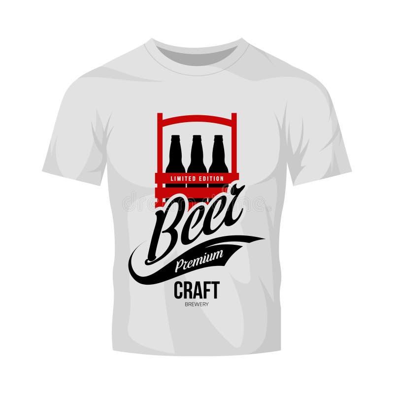 Het moderne teken van het de drank vectordieembleem van het ambachtbier voor brouwerij, bar, brouwerij of bar op witte t-shirtspo royalty-vrije illustratie