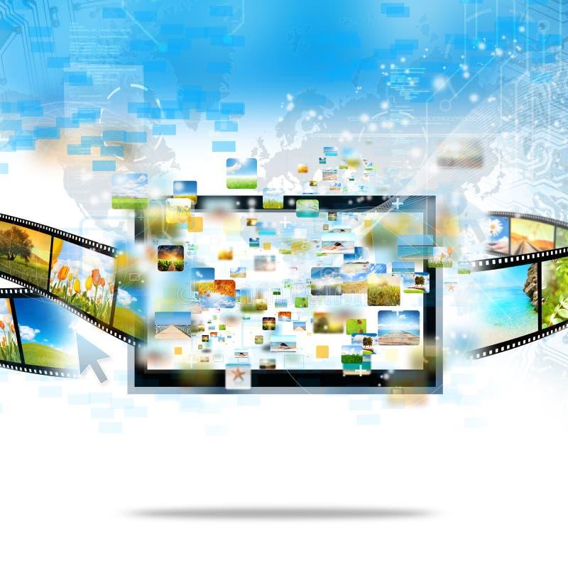 Het moderne televisie stromen royalty-vrije illustratie