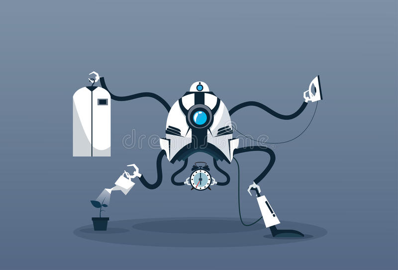 Het moderne van de de Technologiekunstmatige intelligentie van het Robothuishouden Schoonmakende Mechanisme royalty-vrije illustratie