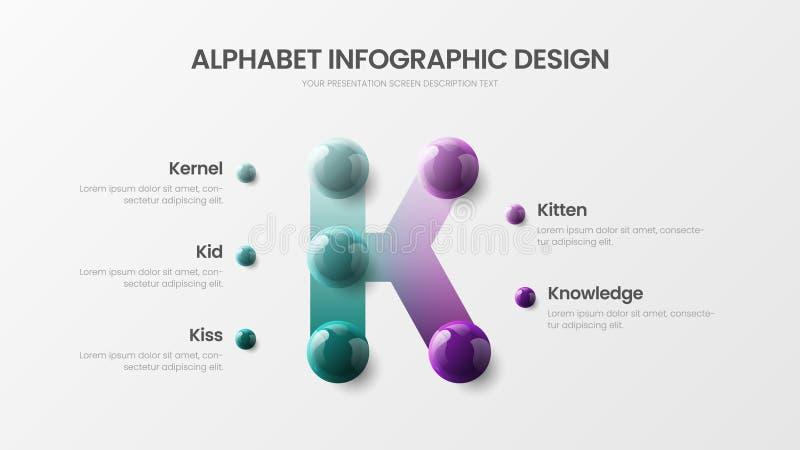 Het moderne van het de optiealfabet van het kunstk symbool vectormalplaatje van de 5 infographic 3D realistische kleurrijke balle royalty-vrije illustratie