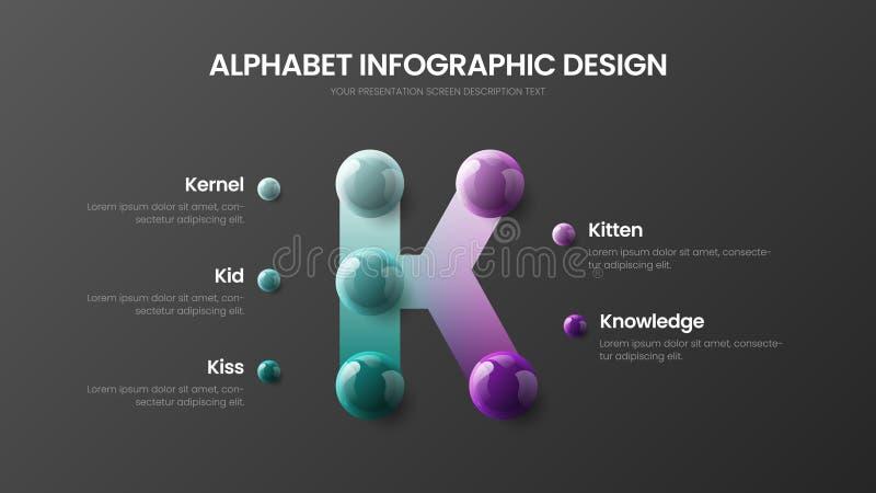 Het moderne van het de optiealfabet van het kunstk symbool vectormalplaatje van de 5 infographic 3D realistische kleurrijke balle stock illustratie