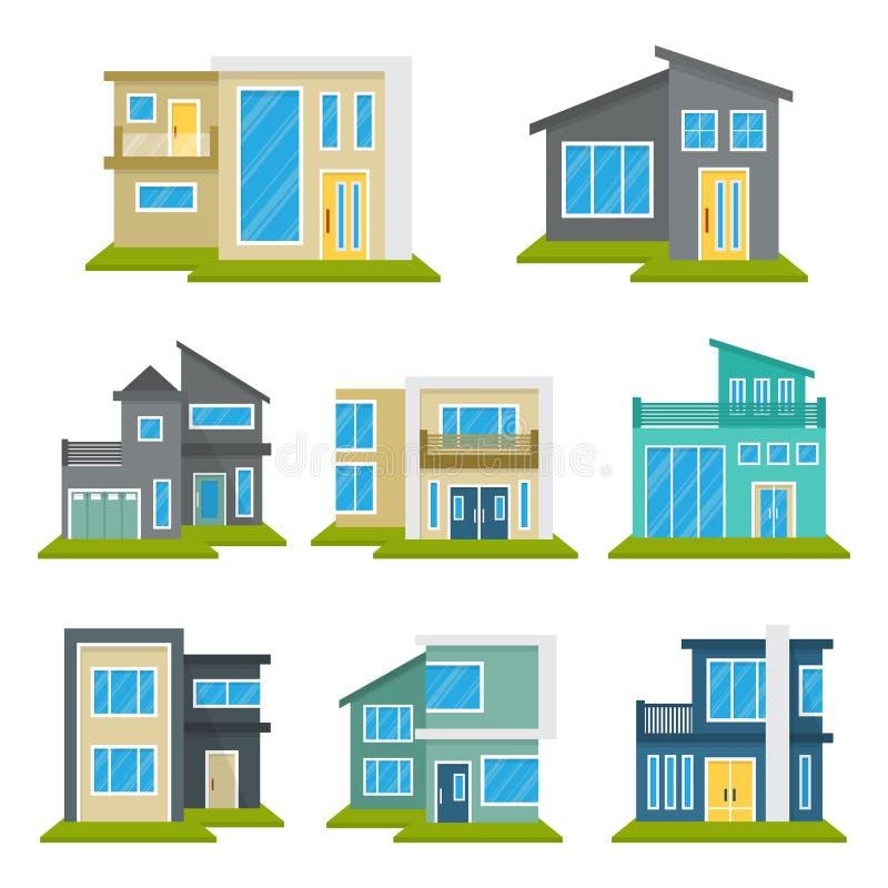 Het moderne van het het Pictogramsymbool van Real Estate van het Huishuis Vlakke Kleurenelement vector illustratie