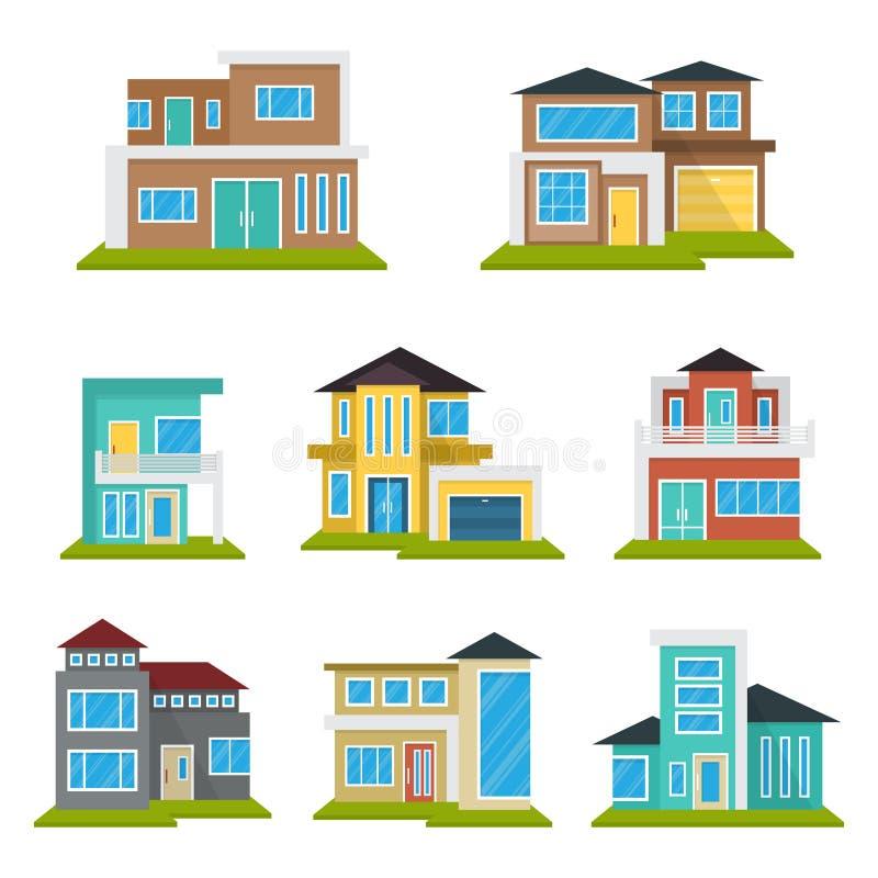 Het moderne van het het Pictogramsymbool van Real Estate van het Huishuis Vlakke Kleurenelement stock illustratie