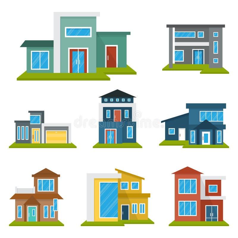Het moderne van het het Pictogramsymbool van Real Estate van het Huishuis Vlakke Kleurenelement royalty-vrije illustratie