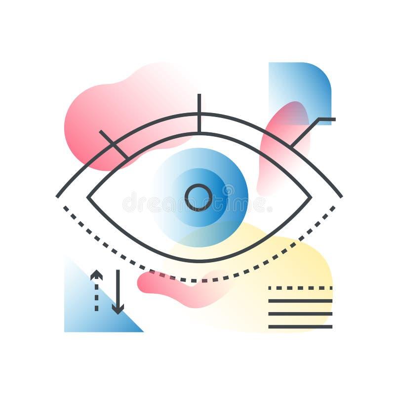 Het moderne vectorconcept van het visieoog in in lijn met gradiënt vlakke kleur vector illustratie