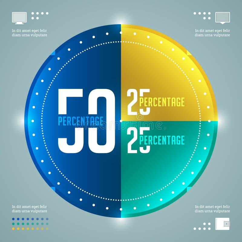 Het moderne Vectormalplaatje van Infographics. Het Diagram van percentagecirkels. Het vectoreps10-Ontwerp van de Conceptenillustra royalty-vrije illustratie