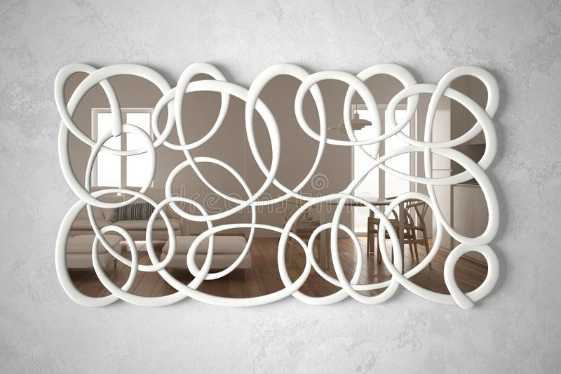 Het moderne verdraaide vormspiegel hangen op de muur die op binnenlandse ontwerpsc?ne, heldere woonkamer met minimalistische leun stock illustratie