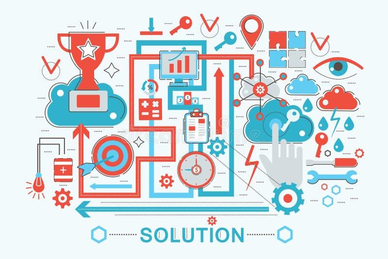 Het moderne Vlakke dunne concept van de Oplossings en van het Bedrijfs lijnontwerp oplossingen voor de website van de Webbanner,  vector illustratie