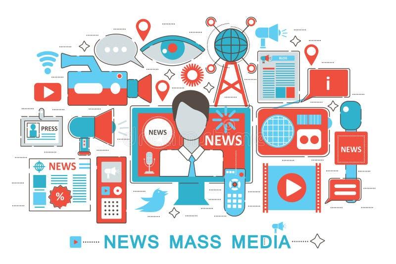 Het moderne Vlakke dunne concept van het NieuwsMassamedia van het Lijnontwerp voor de website van de Webbanner stock illustratie