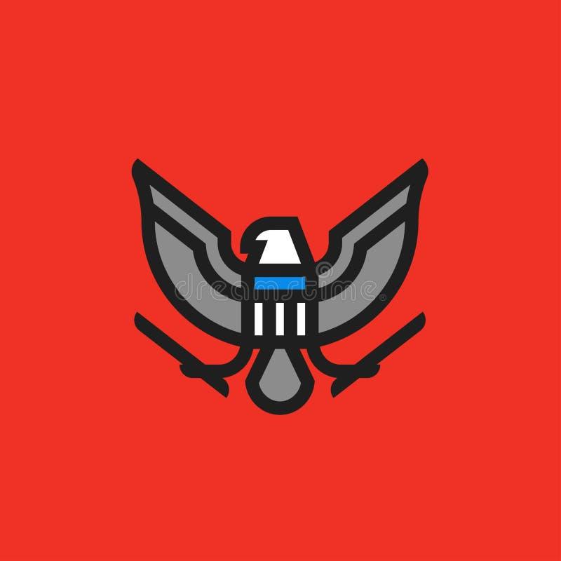 Het moderne vlakke symbool van de lijnwapenkunde van gestileerde Amerikaanse adelaar stock illustratie