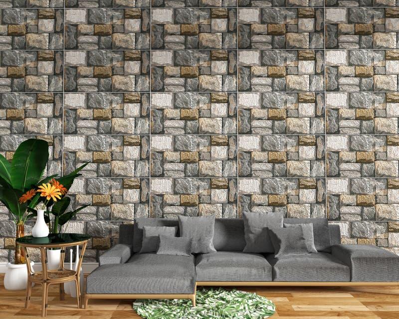 Het moderne woonkamerbinnenland met bankdecoratie en de groene installaties op tegel schommelen de achtergrond van de textuurmuur stock illustratie
