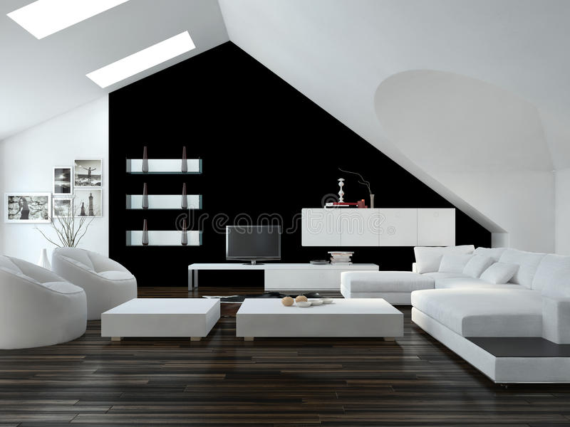 Het moderne zwart-witte binnenland van de zolderwoonkamer royalty-vrije illustratie