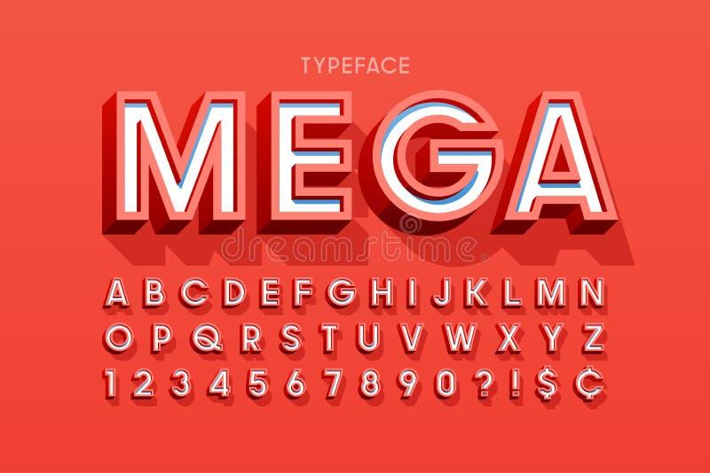 Het modieuze 3d ontwerp, het alfabet, de letters en de getallen van de vertoningsdoopvont royalty-vrije illustratie