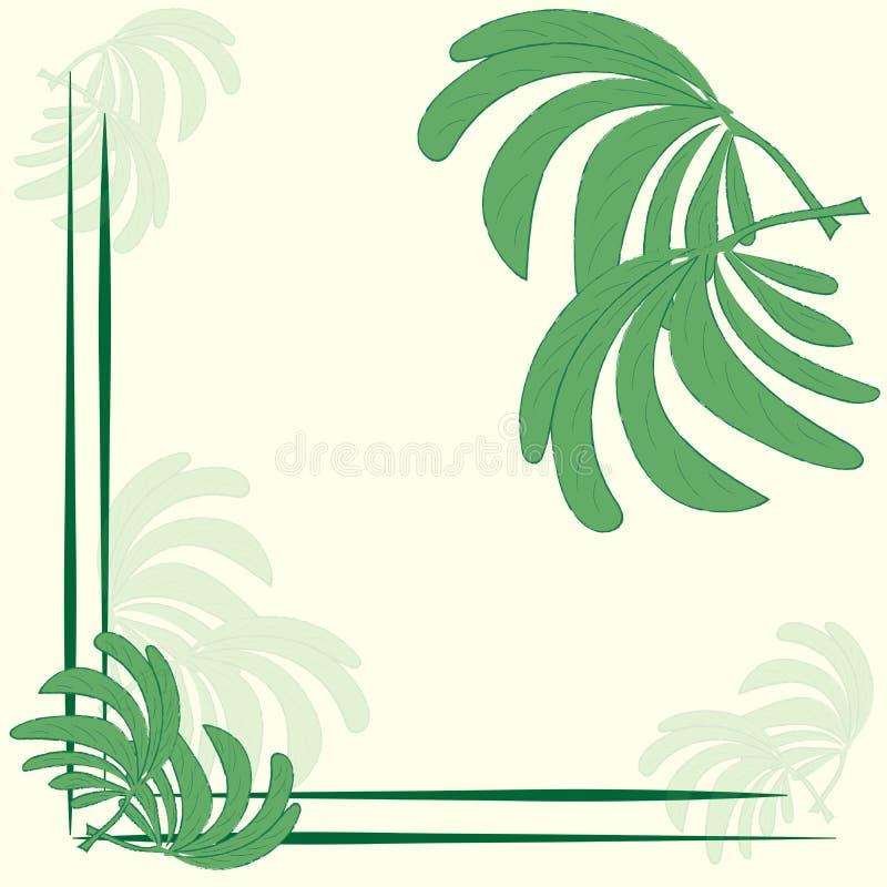 Het modieuze in kader van het etiketprototype met bladeren van patroon van de palm het groene aard op een bleke beige achtergrond vector illustratie
