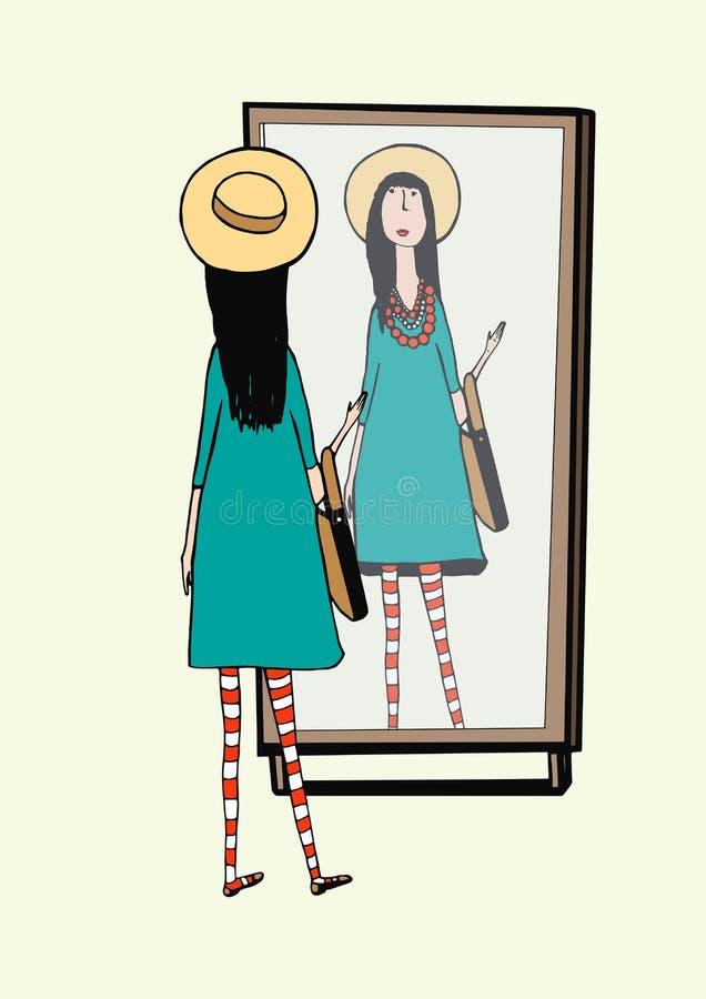 Het modieuze meisje kijkt in spiegel Vrouw met modieuze, retro toebehorenhoed, gestreepte legging, handtas Hand getrokken vector royalty-vrije illustratie