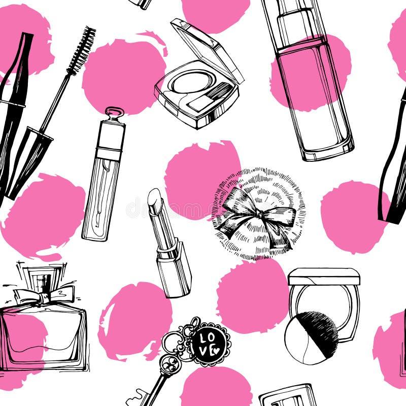 Het modieuze naadloze patroon met een mooi parfum, mascara, sleutels, poederdonsje, bloost Vector illustratie royalty-vrije illustratie