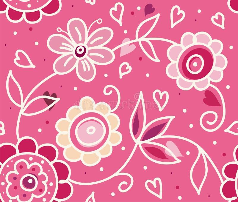 Het modieuze patroon van de Dag van de bloemenValentijnskaart stock afbeeldingen