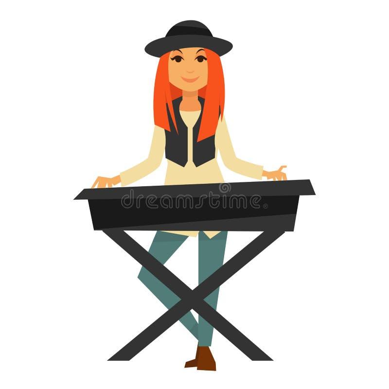 Het modieuze roodharigemeisje speelt elektrische pianoillustratie stock illustratie