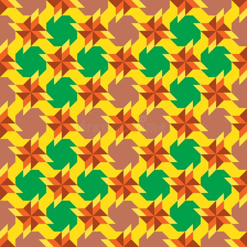 Het modieuze sier naadloze patroon met verschillende geometrische vormen van geel, groen, oranje, bruin en oud nam schaduwen toe stock illustratie