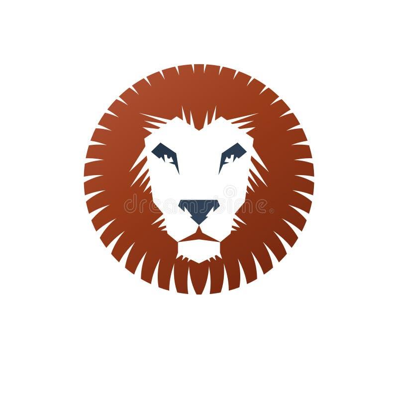 Het moedige dierlijke element van het Leeuw oude embleem Heraldisch vectorontwerpelement stock illustratie