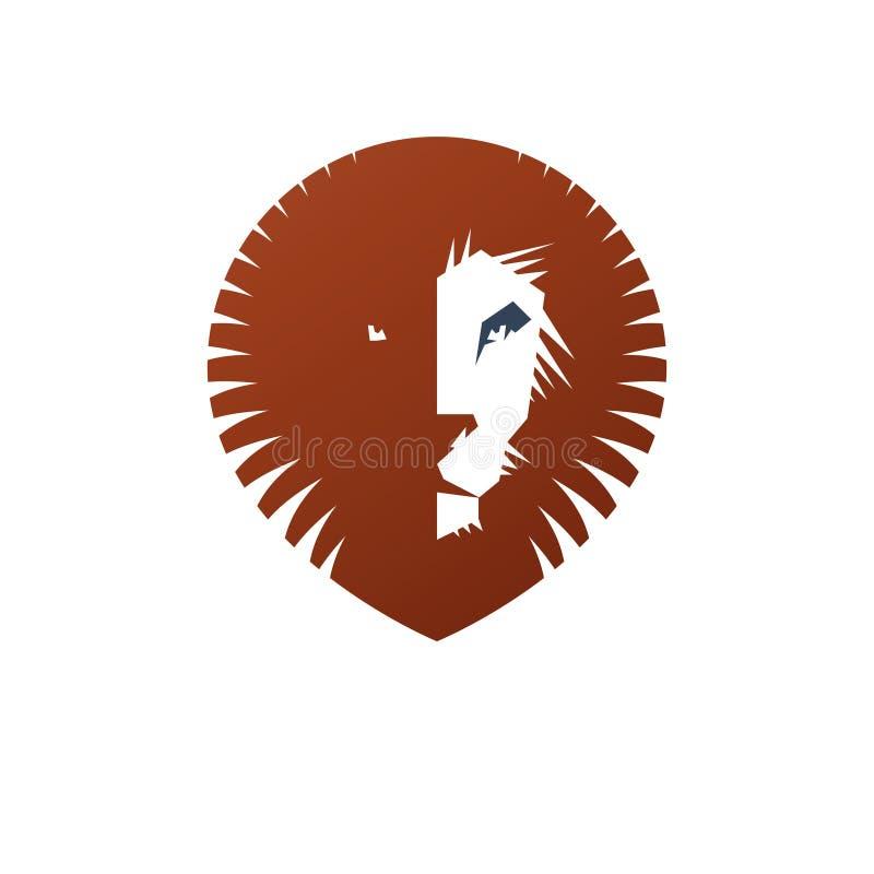 Het moedige dierlijke element van het Leeuw oude embleem Heraldisch vectorontwerpelement vector illustratie