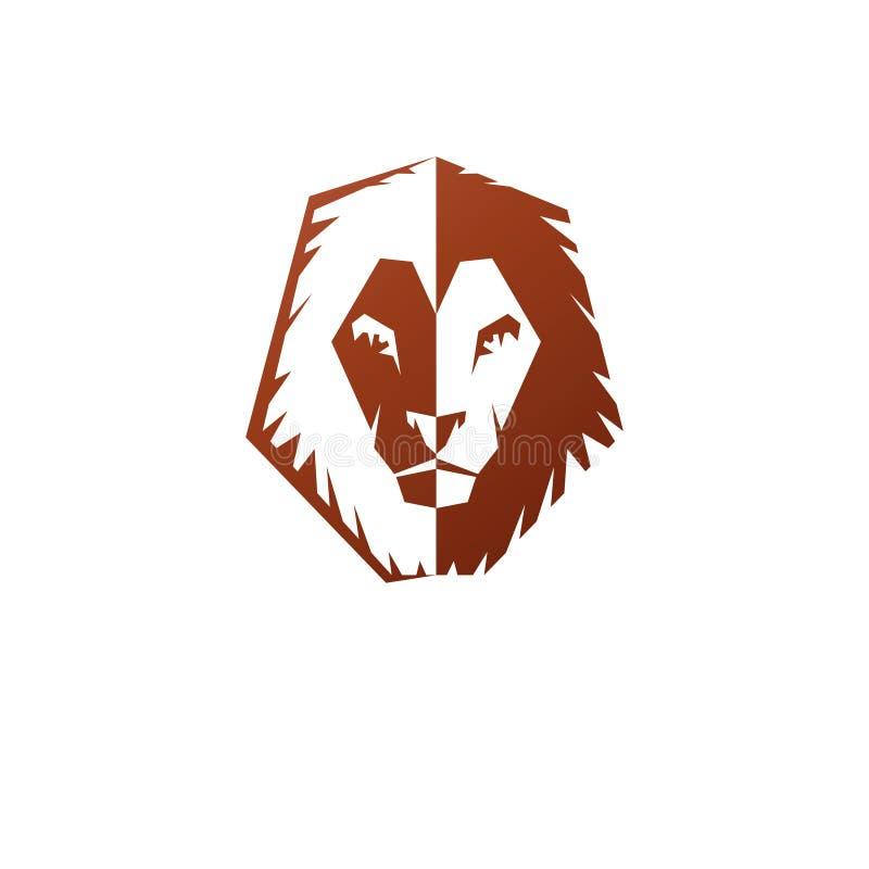 Het moedige Lion King-dierlijke element van het gezichtsembleem Heraldisch Wapenschild vector illustratie