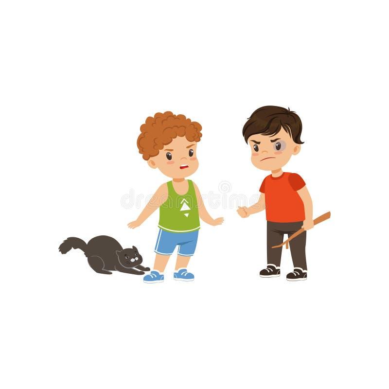 Het moedige litllejongen proberen om tegen te houden intimideert wie dieren vectorillustratie op een witte achtergrond beledigt stock illustratie