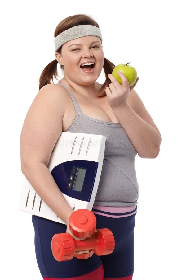 Het mollige vrouw op dieet zijn stock foto's